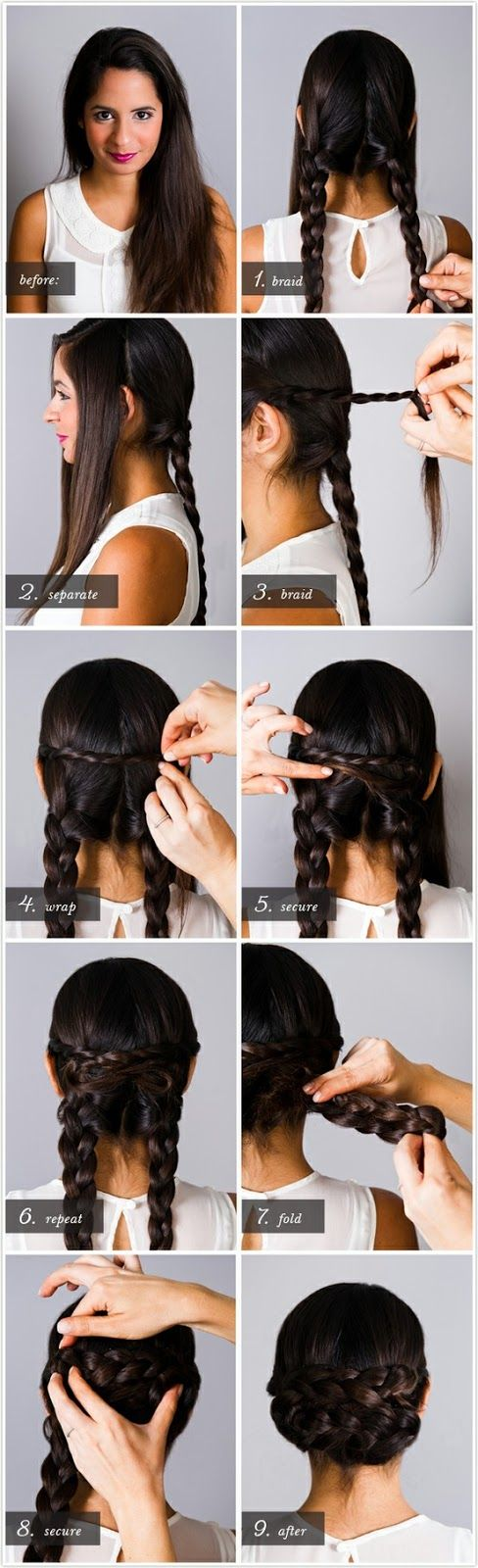 Braided up do. Good to keep hair out of your face without opting out for a simple ponytail.