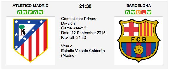 Atletico Madrid vs FC Barcelona Match Date: 12 September 2015 (local time) Venue: Estadio Vicente Calderón (Madrid) Atletico Madrid and Barcelona go against each other in  an attempt to secure the first base in the title race in Primera Division.