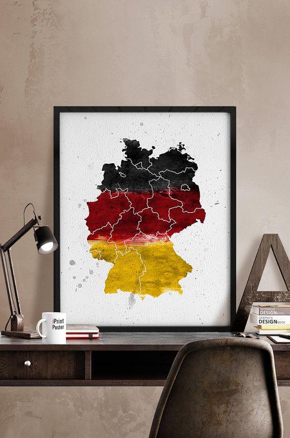 German map Art Print Watercolor map German flag by iPrintPoster
