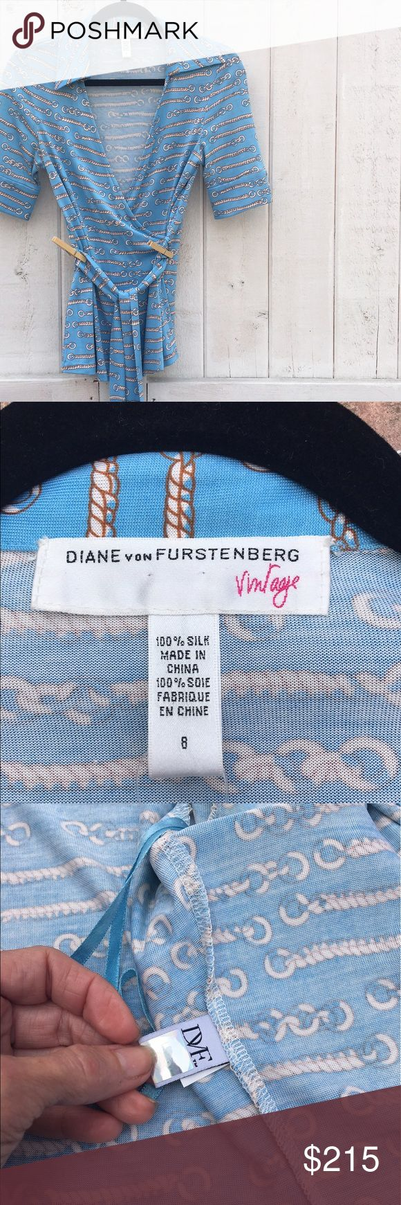 Diane Von Furstenberg Vintage Wrap Blouse  NWOT Classic. Timeless. And hella cool looking, this piece by DVF is the ultimate polo match meets drinks on the yacht meets ain't life grand?! top. In perfect condition (see tags) this iconic top in an iconic print from the iconic woman Barry Diller calls baby, can be yours! Diane Von Furstenberg Tops