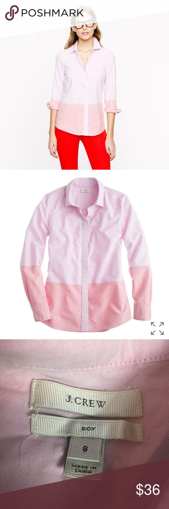 J. Crew boy shirt colorblock oxford button up J. Crew  Size 8 Retails for $88  Pink Colorblock Oxford Boy Shirt  Button Down Top long sleeve  Measurements are taken flat and are approximate. Please compare to your own to insure fit  • 25 inches total length from shoulder  • 25 inches sleeve length from shoulder  • 19 inches width pit to pit  • 15.5 inches width shoulder seam to shoulder seam on back  Color may vary slightly from what is on your screen to the items actual color. J. Crew Tops…