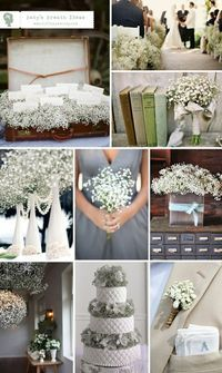 Baby's Breath ideas...affordable and delicate. You can buy bulk quantities on costcos website!!