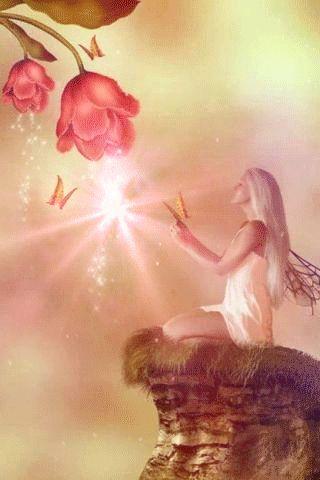 La hada dando energía a las flores