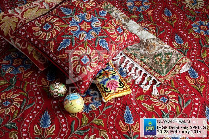 Kashidakari - the art of intricate Kashmiri needlecraft....vibrantly blossoms in home textiles.. at the IHGF Delhi Fair, Spring 2016 #hometextiles #tradeshow