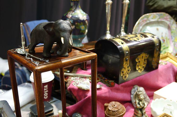 Antique elephant and trunk at Sandown Antiques & Collectors Fair