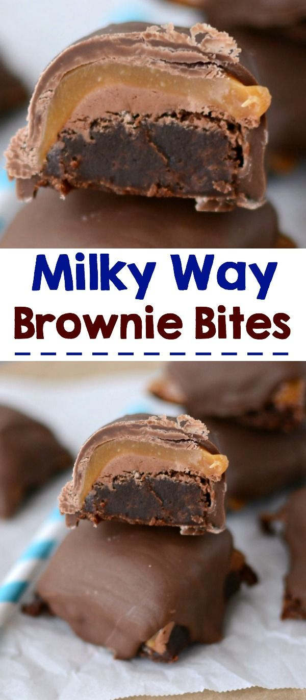 Milky Way Brownie Bites - make your own Milky Way candy bars but add brownies on the bottom!