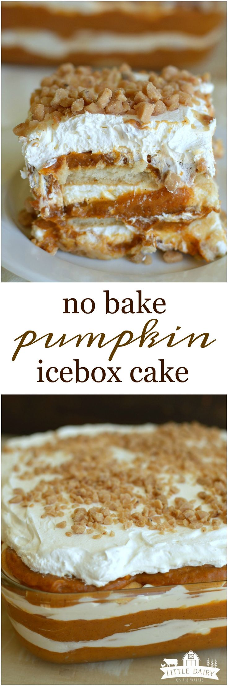 Every layer of this No Bake Pumpkin Icebox Cake is divine! All the way from the…