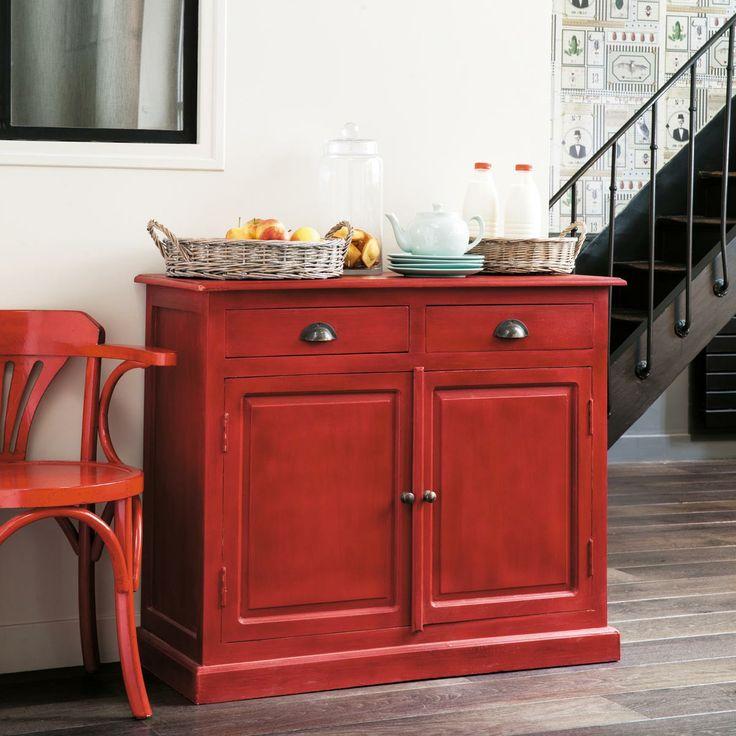Credenza bassa da cucina rossa GASCOGNE