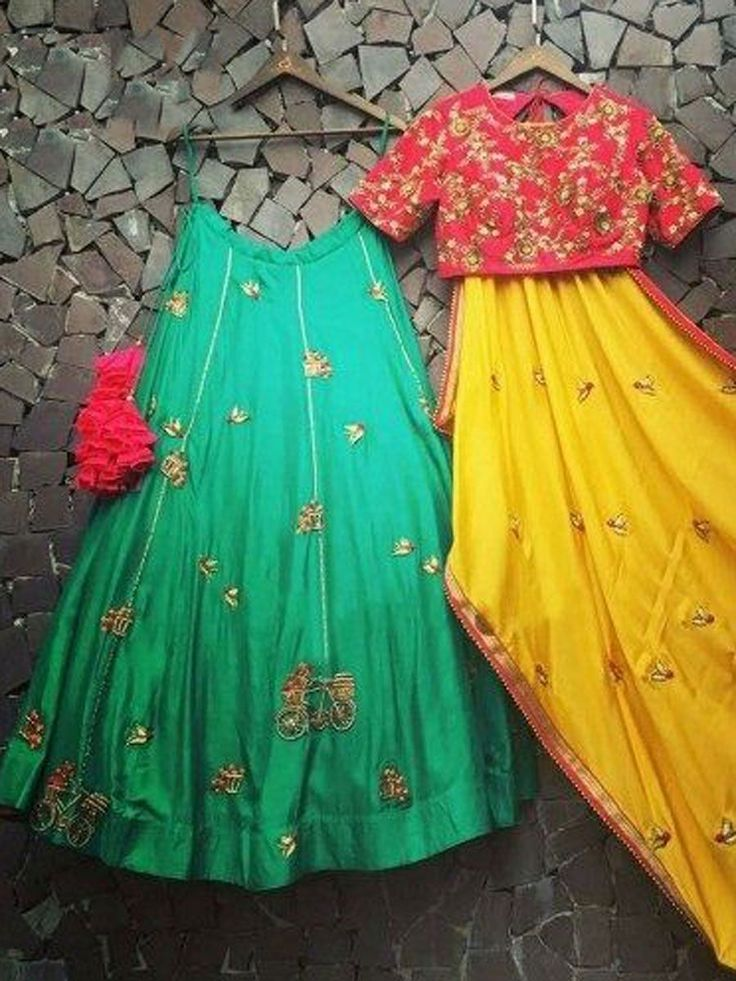 Persian Green Paper Silk Embroidered Party Lehenga