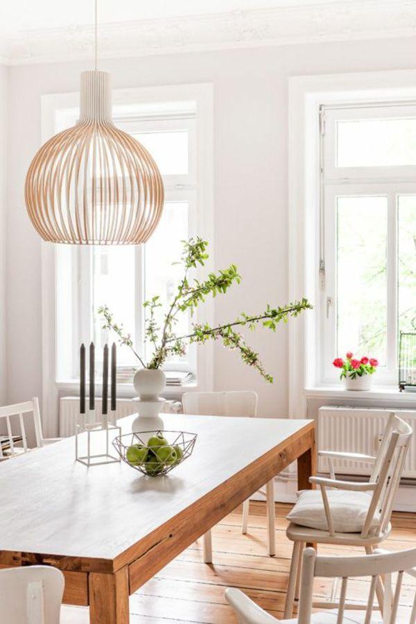 Holz Esszimmertisch Mit Sthlen Weiss Pendelleuchten Design