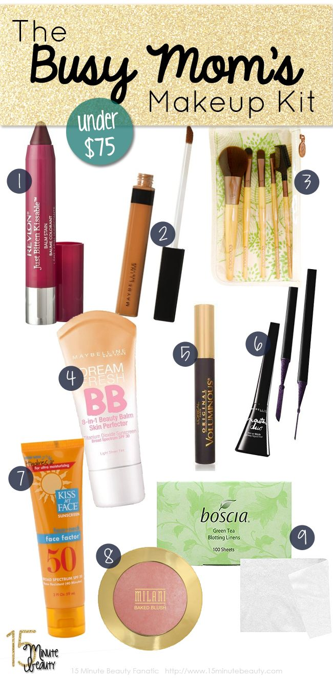A Busy Mommys Makeup Kit for Under $75! via @15 Minute Beauty