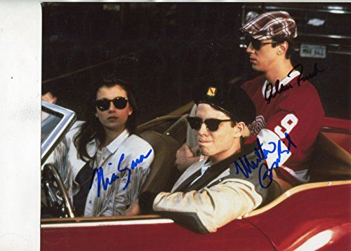 """FERRIS BUELLER'S DAY OFF classic Broderick, Sara, Ruck signed 8x10"""" photo:   Classic shot of Matthew Broderick, Mia Sara and Alan Ruck outside the inside """"The Car"""" signed in blue and black sharpie by each. Very nice........... Comes with a COA from UACC Registered Dealer # 212 Mike Munns Autographs & Sports Collectibles (Est. 1986). Questions are welcome."""