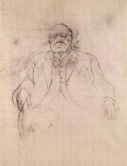 Sir Winston Leonard Spencer Churchill - by Graham Vivian Sutherland - pencil and wash, circa 1954