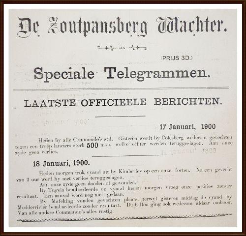 Buy Rare & Original Framed Boer War Special Telegram from De Zoutpansberg Waghter 1900for R1.00