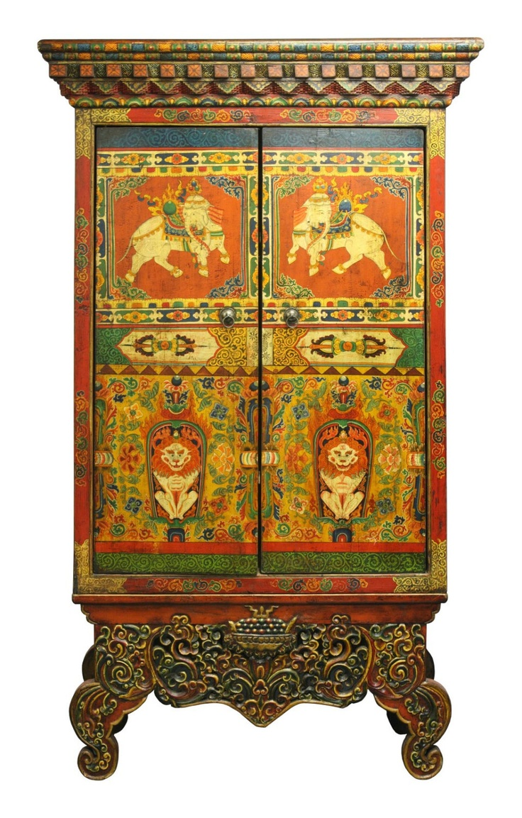 HAND PAINTED TIBETAN ALTAR CABINET. Two Part Tibetan Cabinet With Sacred  Elephants And Lions. Via Etsy.