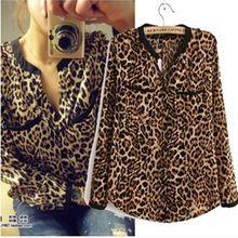 Y456 nuevas mujeres Wild Leopard gasa de la impresión blusa de la señora atractiva de manga larga camiseta top suelta más V blusa de leopardo cuello alto(China (Mainland))