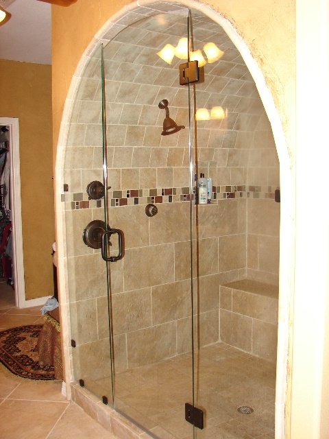 Copper Shower Fixture In Arched Shower Area Bathroom Showers Pinterest Shower Fixtures