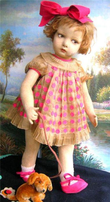 Beautiful antique Lenci felt doll  @http://zippypops.typepad.com/zippypops/2007/11/books-and-chook.html