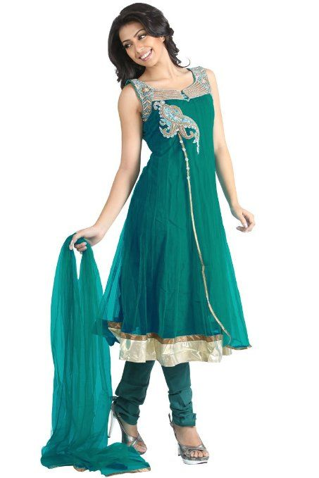 Amazon.com: Light Bondi Blue Net Party and Festival Embroidered Anarkali Churidar Kameez: Clothing