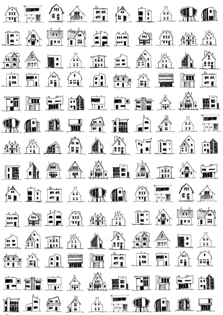 Set of house sketches for an architectural valentine-card project (2012), drawn by Piotr Kilanowski