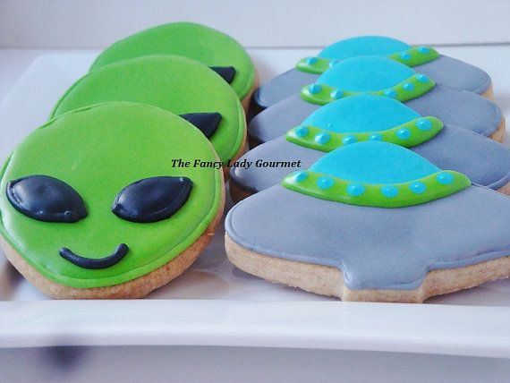 Alien and UFO cookies 1 dozen by TheFancyLadyGourmet on Etsy, $30.00