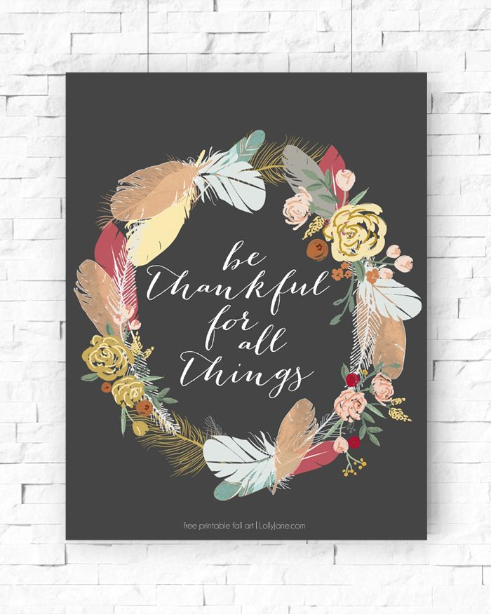 Be Thankful Printable - perfect for Thanksgiving!