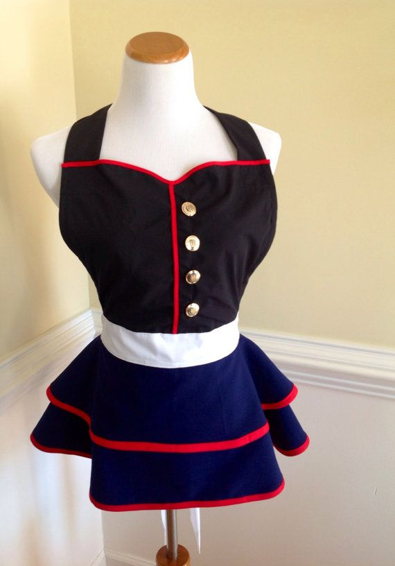 USMC Uniform Inspired Apron Dress Marine Wife Marine by CARENALYNN                                                                                                                                                                                 More