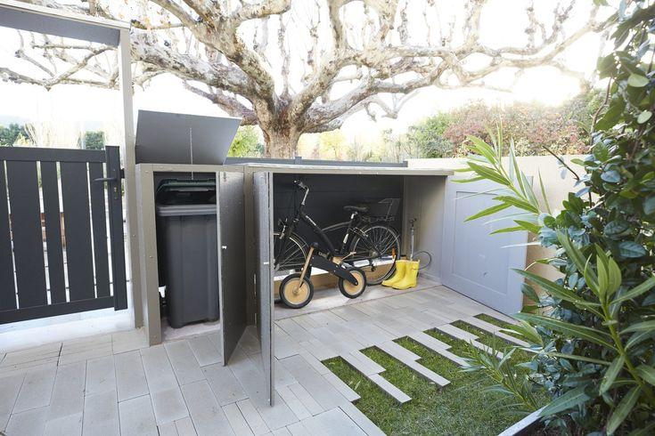 Range Poubelle Et Range Velo Qui S Integrent Parfaitement Dans Le Jardin Poubelle De Rue Poubelle Exterieur Poubelle