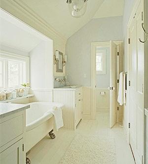 white and blue bathroom