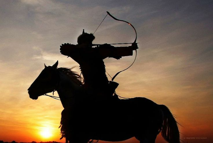 The Hungarian mounted bowmen were famous for being able to fire acurately from horseback, especially backwards. This has become a Hungarian symbol