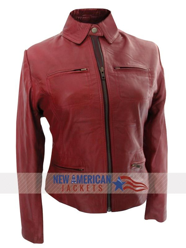 A1 FASHION GOODS Womens Fitted Mid Length Biker Leather Jacket Red Zipped Waist Belt Designer Coat - Hannah B078PNYDVF