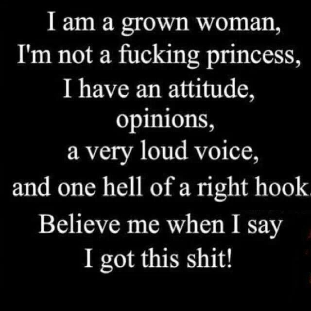 I am a grown woman and I've got this!  All except the right hook... I don't fight.  Lol