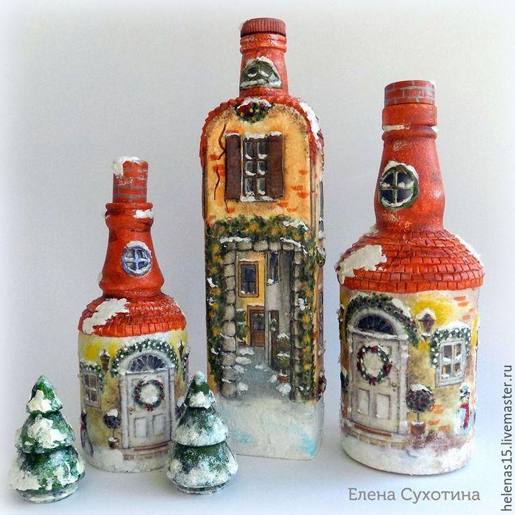Купить Рождественские домики винтажные 3D декупаж бутылка-светильник - бежевый, рождественские домики