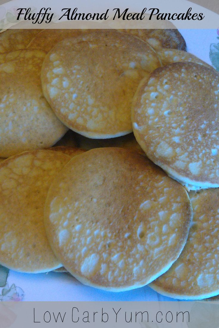 Nice fluffy low carb and gluten free almond meal pancakes. Perfect served with butter and sugar free pancake syrup. LCHF Keto Atkins Recipe!