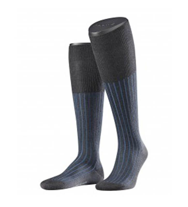 Falke Men's Shadow Fil d Ecosse Knee High Socks. Fashionable Elegant two colour long business socks. Free worldwide delivery available.