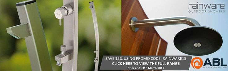 Save 15% off the entire range of Rainware Outdoor Showers until the end of March http://www.abltilecentre.com.au/brands/Rainware-Outdoor-Showers.html