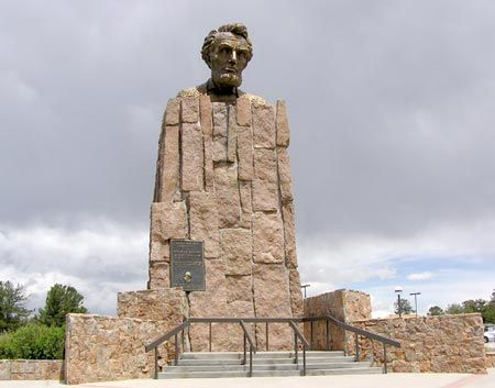 This historic monument was constructed in 1959 by Robert Russin, who was an art professor at the University of Wyoming. The bronze bust of Lincolns head is thirteen-and-a-half feet tall and required ten tons of clay and eleven months of work to create.  It is located at Summit Rest on Interstate 80 between Laramie and Cheyenne, Wyoming.