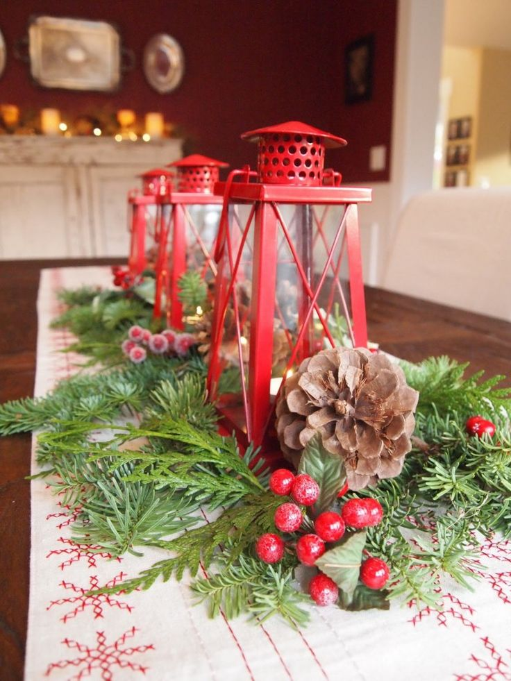 Christmas Centerpiece with Lantern