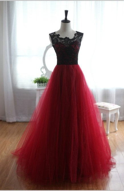 Wine Red Burgundy Black Lace Tulle Wedding Dress