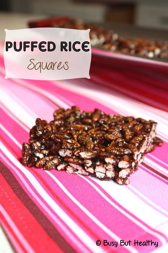 Puffed Rice Squares are a healthy and gluten free version of an old favorite, Puffed Wheat Squares. 5 ingredients, no-bake, and come together in 10 minutes.