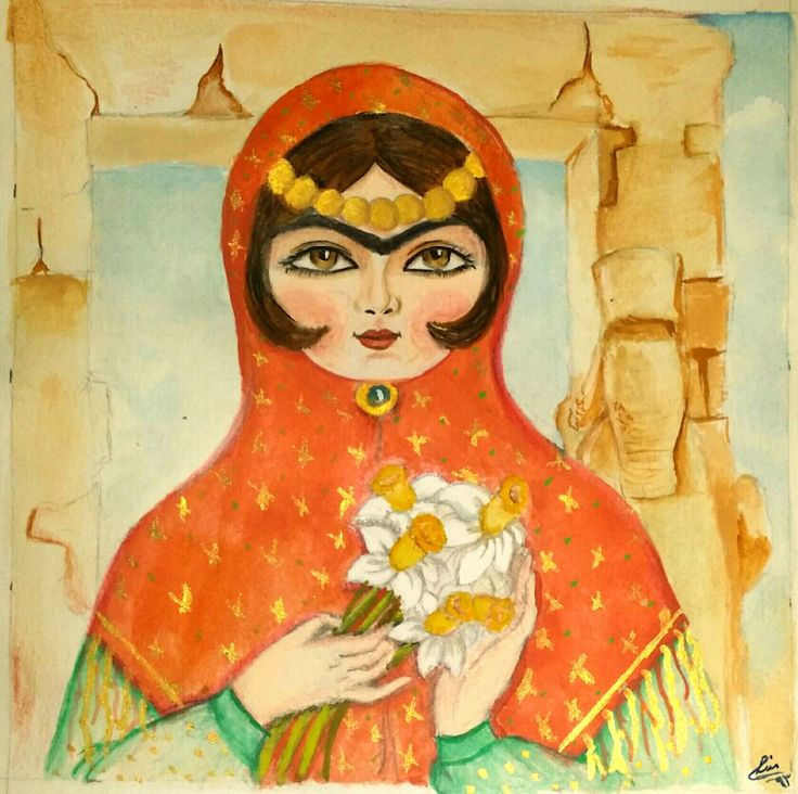 Water color persian khatoon