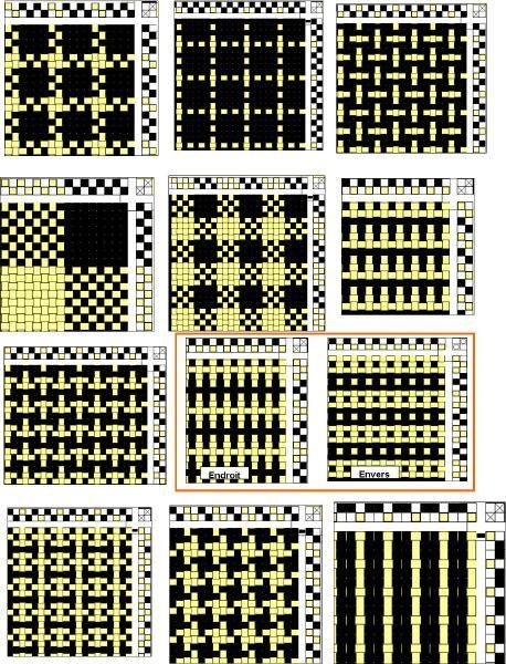 plusieurs planches diagramme de tissage