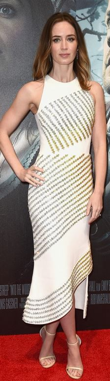 Who made Emily Blunt's white print dress and nude ankle strap sandals that she wore in London?