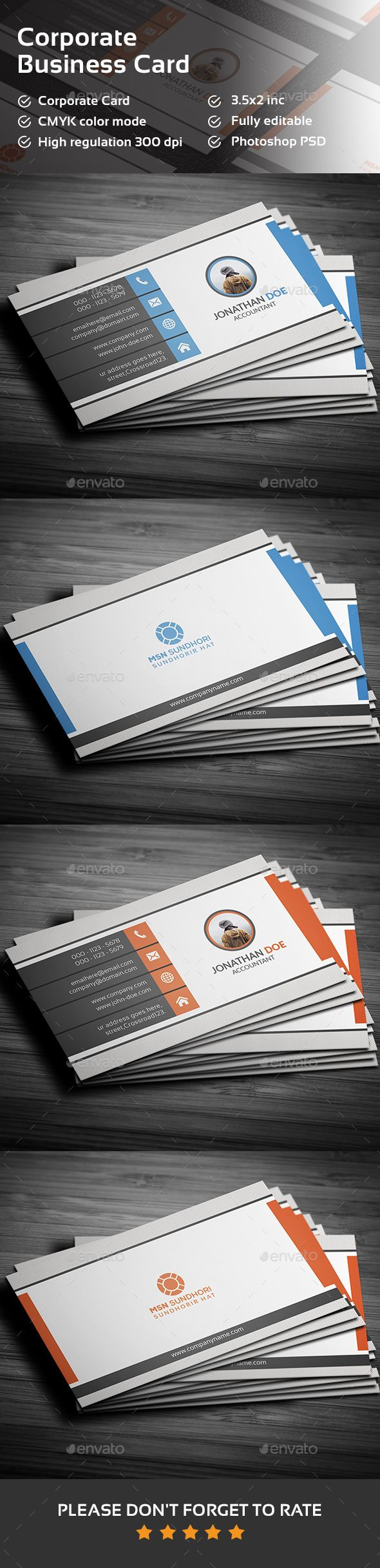 Corporate Business Card — Photoshop PSD #green #professional • Available here → https://graphicriver.net/item/corporate-business-card/15677082?ref=pxcr