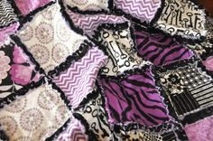 hot pink chalky finish paint for furniture on sale | Baby girl Rag Quilt Purple and Black floral by CircleCSewing, $55.00