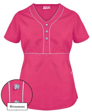 Butter-Soft Scrubs by UA™ Empire Waist Y-Neck Top w/ Rhinestone Detail   This scrub top features a y-neckline and contrast piping, offering a more distinguished shape to any scrubs collection!  Style # RS966C #uniformadvantage #uascrubs #adayinscrubs #pink #scrubs #bling #fashionscrubs