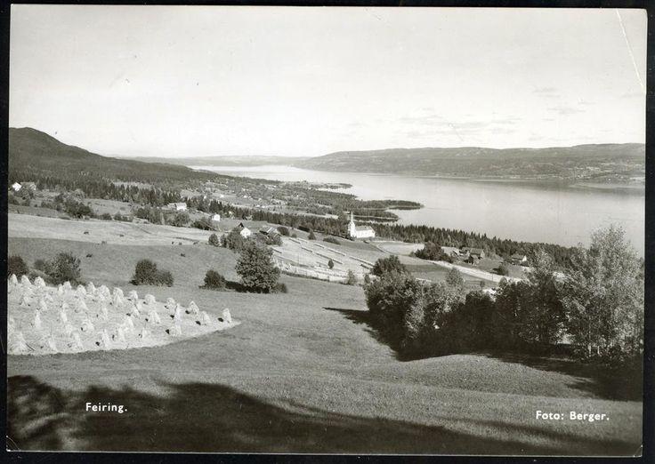 Akershus fylke Eidsvoll kommune FEIRING. Oversikt. Foto Berger stpl. Feiring 1954