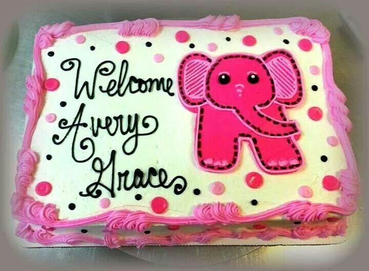 Elephant themed girl baby shower sheet cake design in buttercream