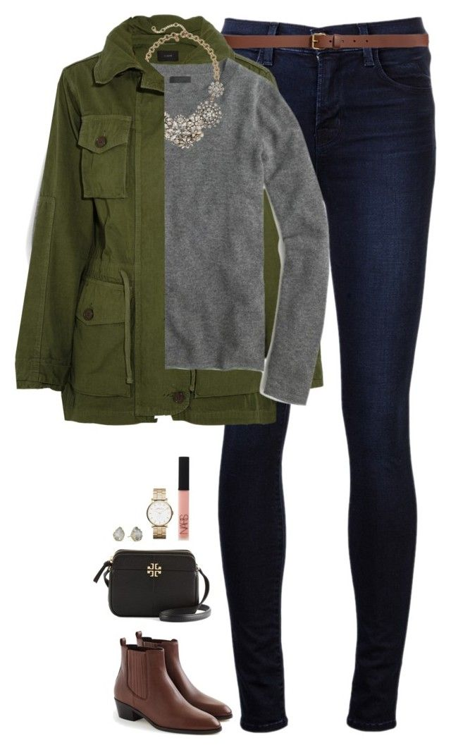 """J.Crew jacket, cashmere sweater & necklace"" by steffiestaffie ❤ liked on Polyvore featuring J Brand, H&M, J.Crew, Kendra Scott, Marc by Marc Jacobs, NARS Cosmetics and Tory Burch"
