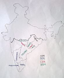 approximate distributionof Dravidian languages.
